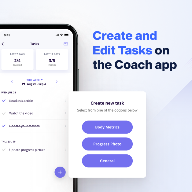 Create and edit tasks for training clients on the online coach app