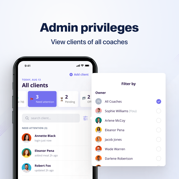Admin privileges enables gym/studios owners or lead coach view clients of other coaches on online coach app