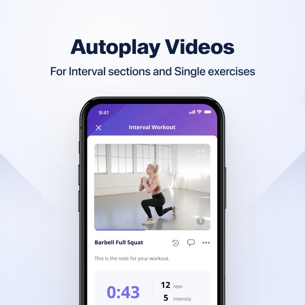 Autoplay keeps the videos playing to boost clients' working results, especially for interval sections and single exercises on online coach app
