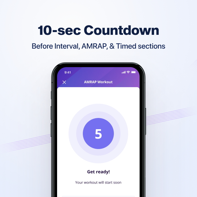 10-sec Countdown gives clients a little time to get ready before diving into the workout section on online coach app