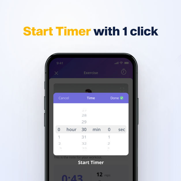 Training client can start a timer very quickly straight from the tracking screen on online coach app