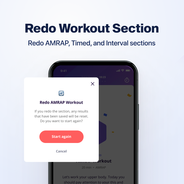 training clients now can redo the workout section if they want to on online coach app